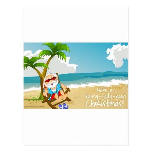 Santa en la playa, Santa el vacaciones Tarjeta Postal