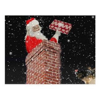 Santa en la postal de la chimenea