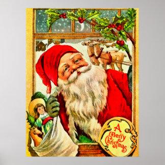 Santa en la ventana con el bolso de juguetes póster