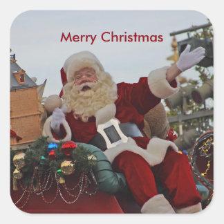 Santa en los pegatinas del desfile pegatina cuadrada