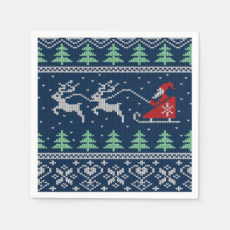 Santa en modelo hecho punto trineo servilleta de papel