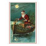 Santa en su barco tarjeta postal
