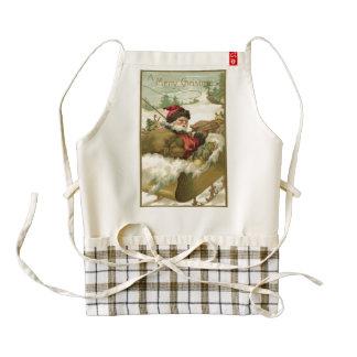 Santa en su trineo delantal zazzle HEART