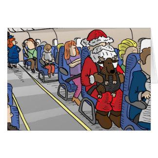 Santa en tarjeta de felicitación del aeroplano