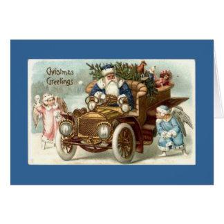Santa en tarjeta de Navidad antigua de la tarjeta