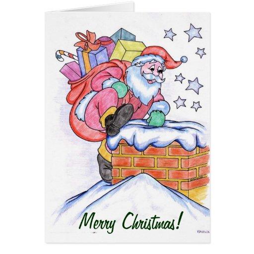 Santa en tarjeta de Navidad de la chimenea