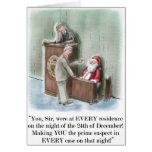Santa en tarjeta de Navidad del soporte de testigo