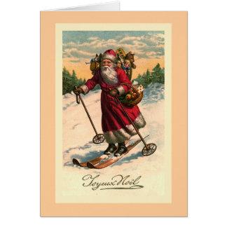 """""""Santa en tarjeta del francés del vintage de los e"""