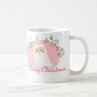 Santa en taza rosada del navidad
