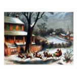 Santa en trineo con el reno tarjetas postales