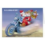 Santa en un Harley Tarjeta De Felicitación