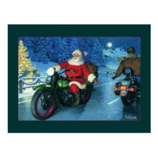 santa en un motocycle tarjetas postales