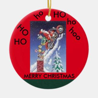 Santa en un ornamento del círculo del navidad de adorno navideño redondo de cerámica