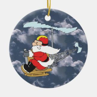 Santa en un ornamento del helicóptero ornamentos de navidad
