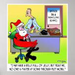 Santa en una oficina de empleo de la calefacción y poster