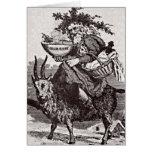 Santa en una tarjeta de felicitación de la cabra