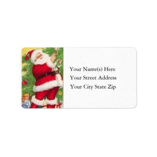 Santa enciende la etiqueta de dirección del vintag