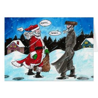 Santa encounters Hasidic Jew Card