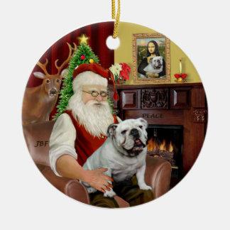 Santa-English Bulldog Ceramic Ornament