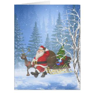 Santa es 1 que viene tarjeta de felicitación grande