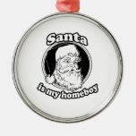 Santa es mi homeboy adorno redondo plateado