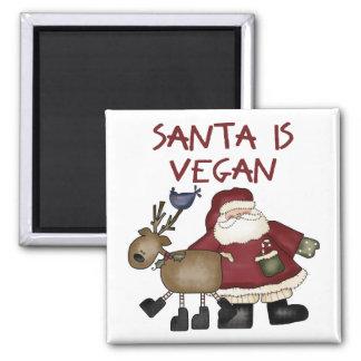 Santa es vegano imán cuadrado