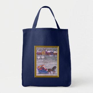 Santa está en su manera bolsa tela para la compra
