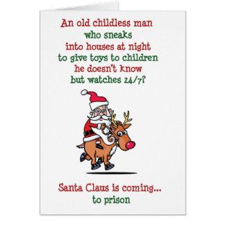 Santa está mirando la tarjeta