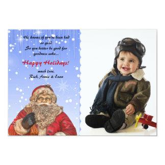 """Santa está viniendo a la ciudad - tarjeta del día invitación 5"""" x 7"""""""