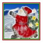 Santa, estrallando a través de la nieve escultura fotográfica
