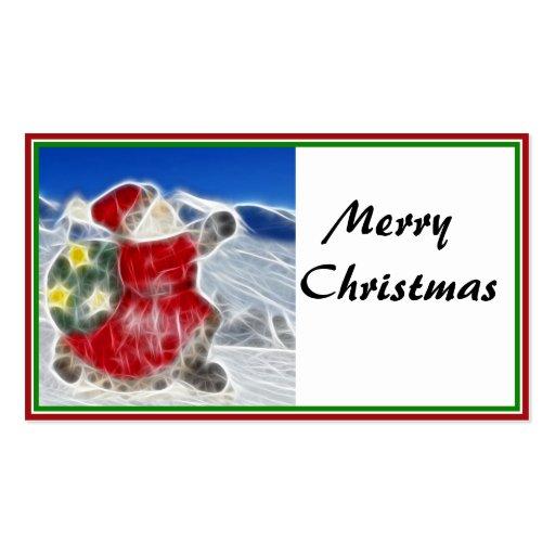 Santa, estrallando a través de la nieve tarjetas de negocios