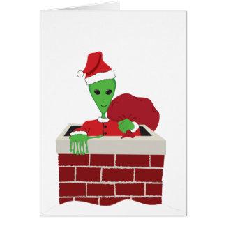 Santa extraterrestre tarjeta de felicitación