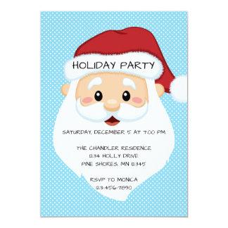 Santa Face Blue Christmas Holiday Party Invitation
