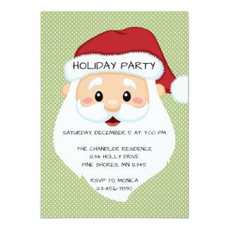 Santa Face Green Christmas Holiday Invitation