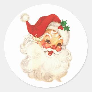 santa face vintage classic round sticker