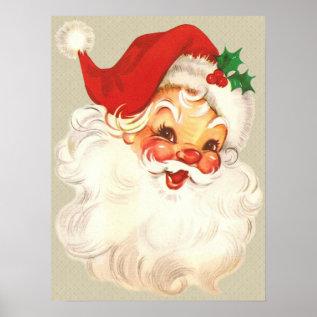 Santa Face Vintage Poster at Zazzle