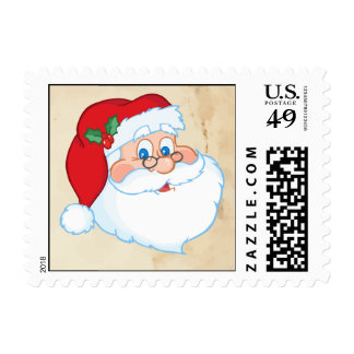 Santa Face with Stone Background Postage