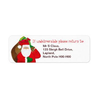 Santa Father Christmas gift return address labels