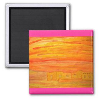 santa fe adobe sky 2 inch square magnet
