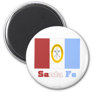 Santa Fe flag with name 2 Inch Round Magnet