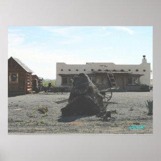 Santa Fe Hacienda with charcoal effect Poster