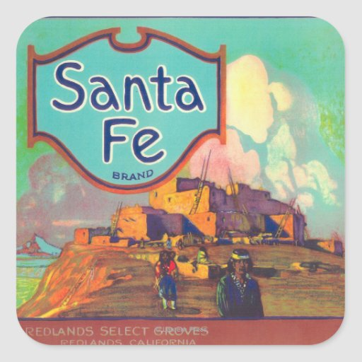 Santa Fe LabelRedlands anaranjado, CA Colcomania Cuadrada