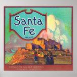 Santa Fe LabelRedlands anaranjado, CA Posters