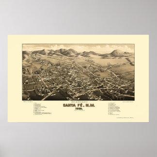 Santa Fe, mapa panorámico del nanómetro - 1882 Póster