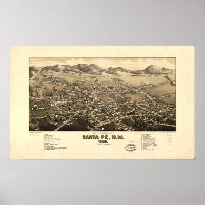 map of new mexico mountains. Santa Fe New Mexico 1882