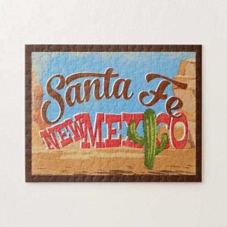 Santa Fe New Mexico Cartoon Desert Vintage Travel Jigsaw Puzzle