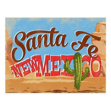 Santa Fe New Mexico Cartoon Desert Vintage Travel Postcard