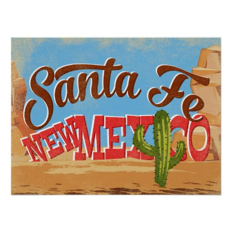 Santa Fe New Mexico Cartoon Desert Vintage Travel Poster