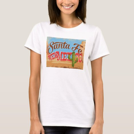 Santa Fe New Mexico Cartoon Desert Vintage Travel T-Shirt