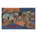 Santa Fe, New Mexico - Large Letter Scenes 2 Poster
